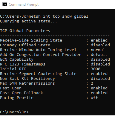 netsh command to show chimney offload state
